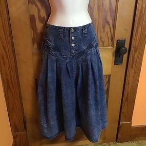 Jordache stone washed acid washed 80s full skirt